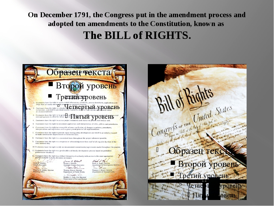 On December 1791, the Congress put in the amendment process and adopted ten a...