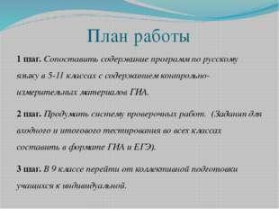 План работы 1 шаг. Сопоставить содержание программ по русскому языку в 5-11 к