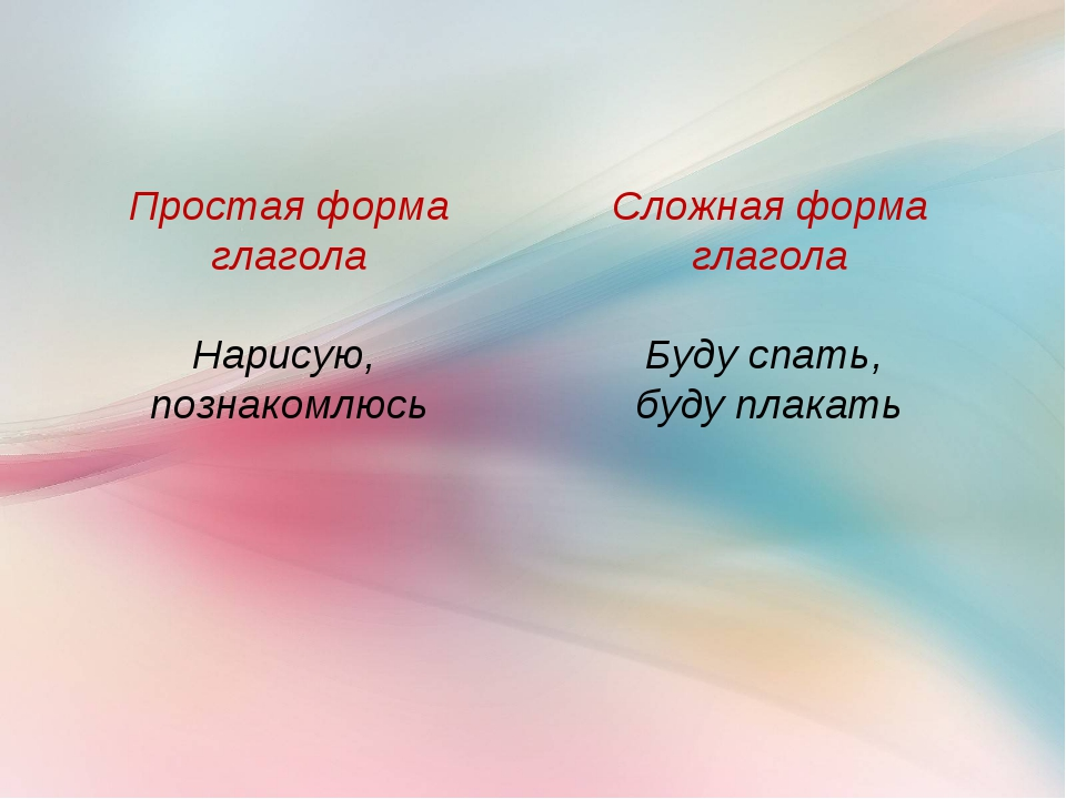 Сложная форма глагола Буду спать, буду плакать Простая форма глагола Нарисую,...