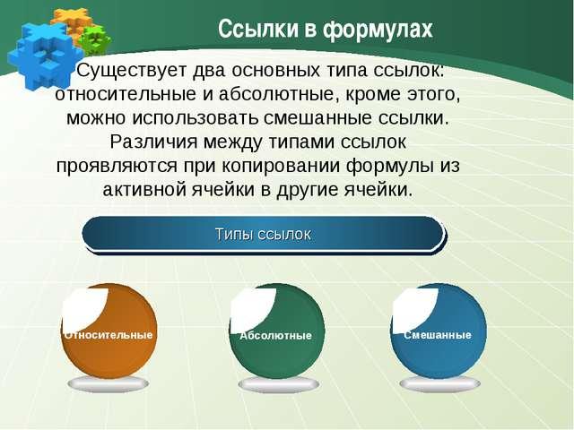 Ссылки в формулах Типы ссылок Существует два основных типа ссылок: относитель...
