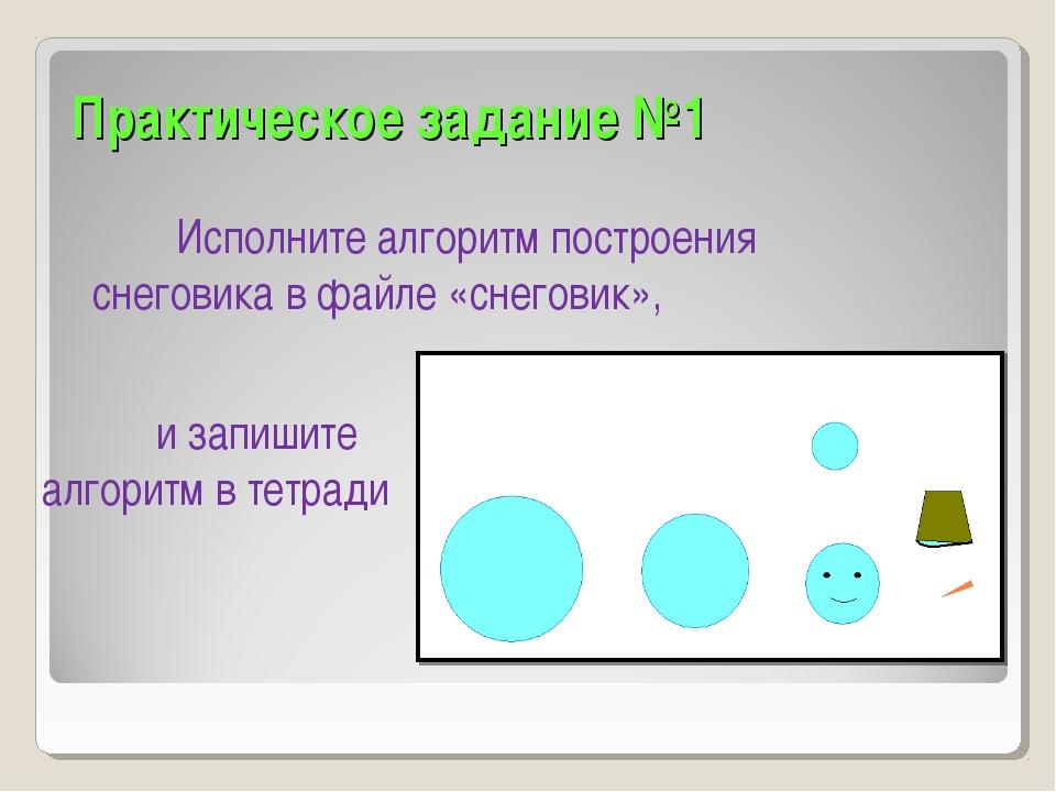 Практическое задание №1 Исполните алгоритм построения снеговика в файле «снег...