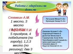 Стяжкин А.М. 1 место, 3 место в МЭ ВОШ Гаврилова Л.И. 5 призёров, 4 победите