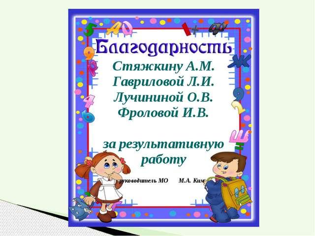 Стяжкину А.М. Гавриловой Л.И. Лучининой О.В. Фроловой И.В. за результативную...