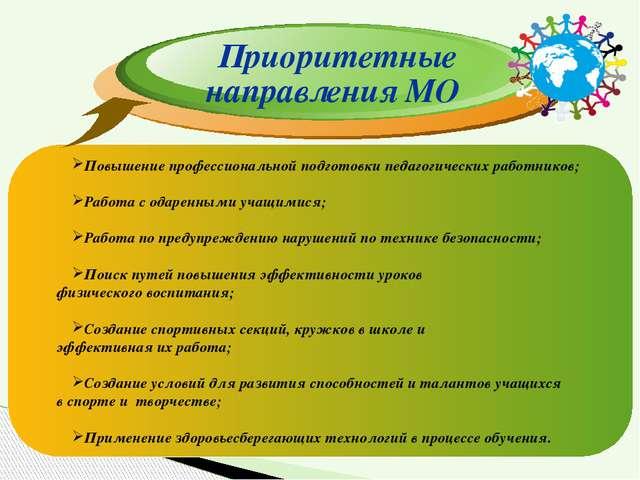 Приоритетные направления МО Повышение профессиональной подготовки педагогичес...