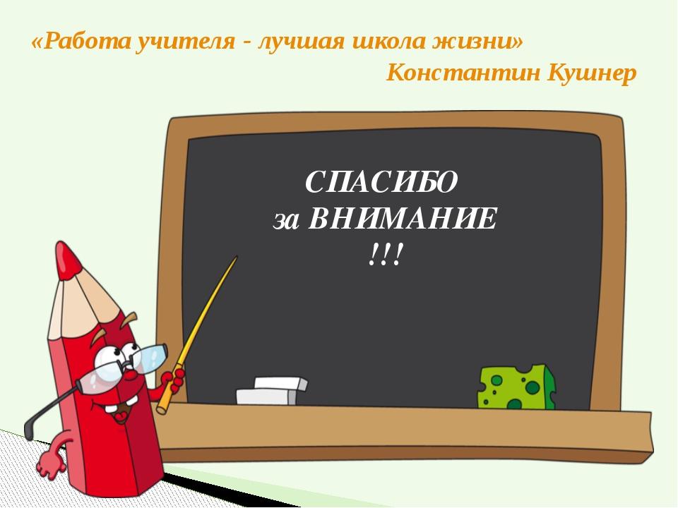 «Работа учителя - лучшая школа жизни» Константин Кушнер СПАСИБО за ВНИМАНИЕ !!!
