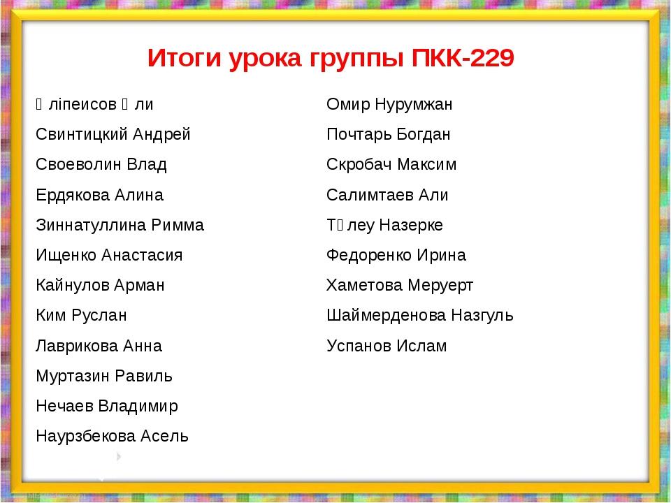 Итоги урока группы ПКК-229 Әліпеисов Әли Свинтицкий Андрей Своеволин Влад Ерд...