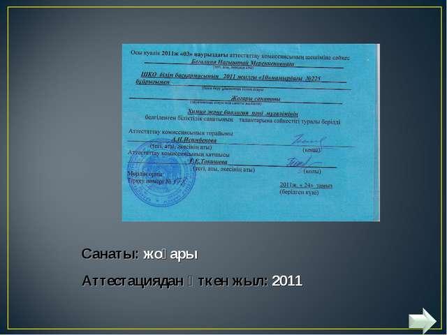 Санаты: жоғары Аттестациядан өткен жыл: 2011