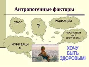 Антропогенные факторы РАДИАЦИЯ ЛЕКАРСТВЕННЫЕ ПРЕПАРАТЫ ? СМОГ ИОНИЗАЦИЯ