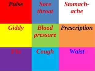 PulseSore throatStomach-ache GiddyBlood pressurePrescription FluCoughWa