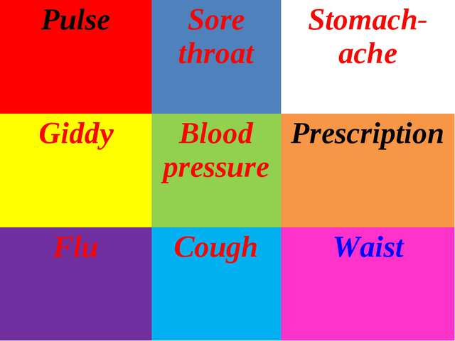 PulseSore throatStomach-ache GiddyBlood pressurePrescription FluCoughWa...