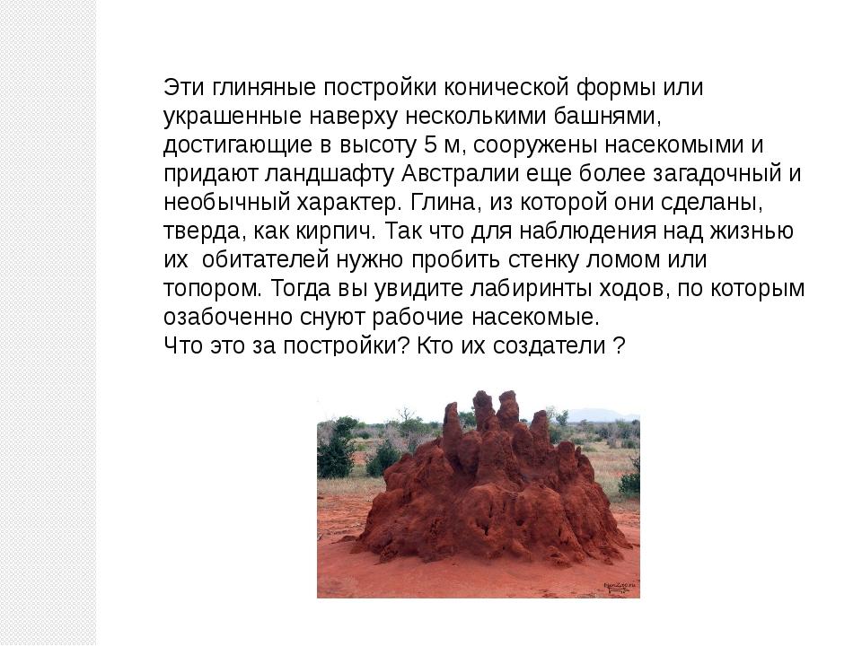 Эти глиняные постройки конической формы или украшенные наверху несколькими ба...