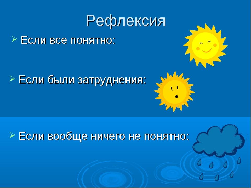 Рефлексия Если все понятно: Если были затруднения: Если вообще ничего не поня...