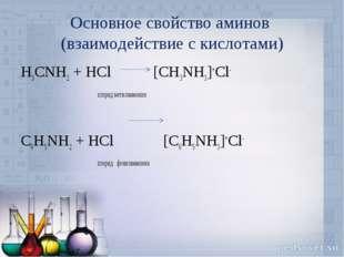 Основное свойство аминов (взаимодействие с кислотами) H3CNH2 + HCl [CH3NH3]+C
