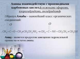 Амины взаимодействую с производными карбоновых кислот,(сложными эфирами, хлор