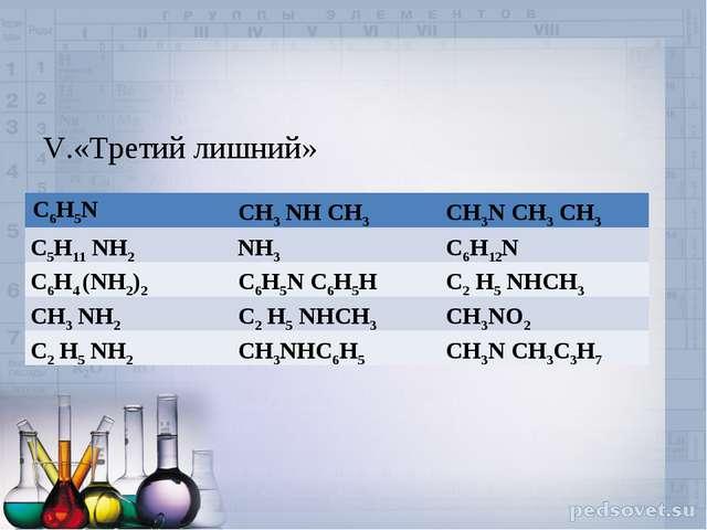 V.«Третий лишний» С6Н5NСН3 NH СН3СН3N СН3 СН3 С5Н11 NH2NH3 С6Н12N С6Н4 (N...