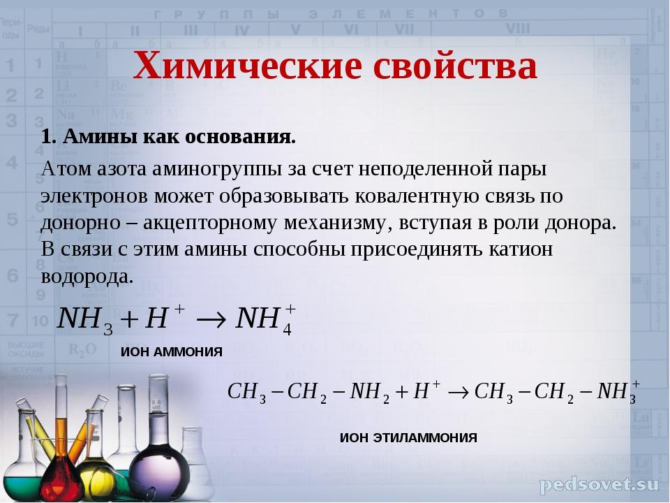 Химические свойства 1. Амины как основания. Атом азота аминогруппы за счет не...