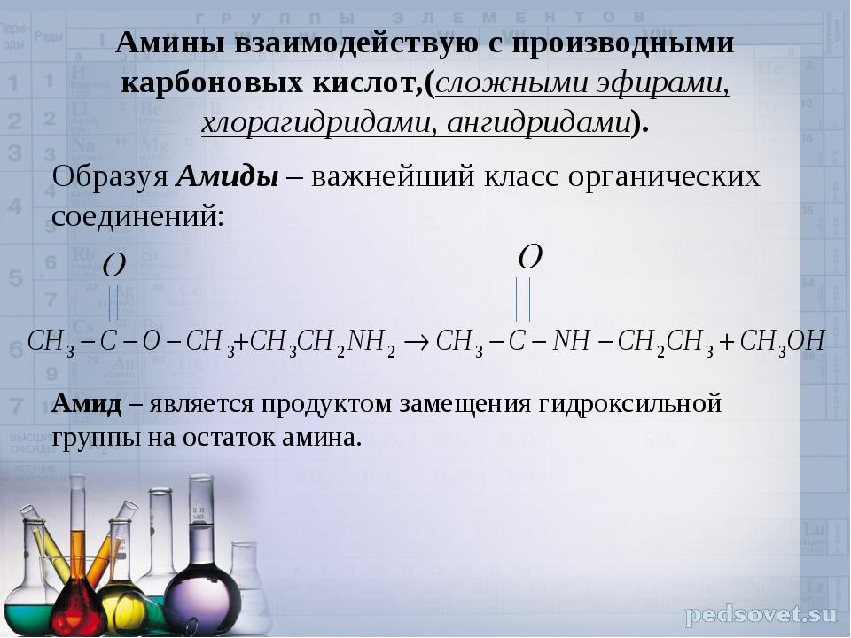 Амины взаимодействую с производными карбоновых кислот,(сложными эфирами, хлор...