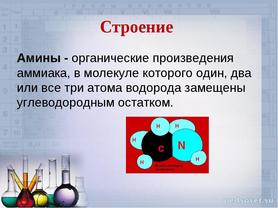 Строение Амины - органические произведения аммиака, в молекуле которого один,...