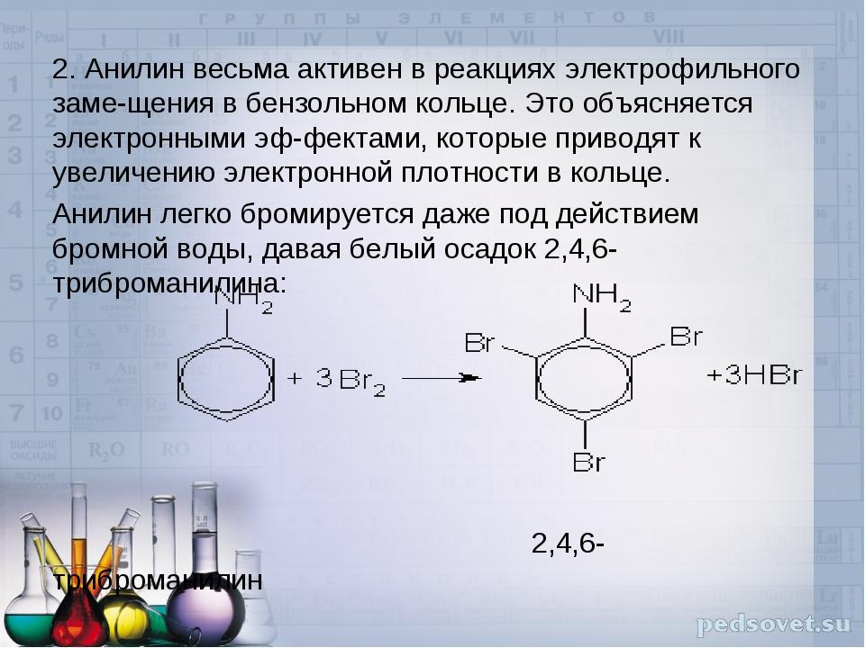 2. Анилин весьма активен в реакциях электрофильного замещения в бензольном к...