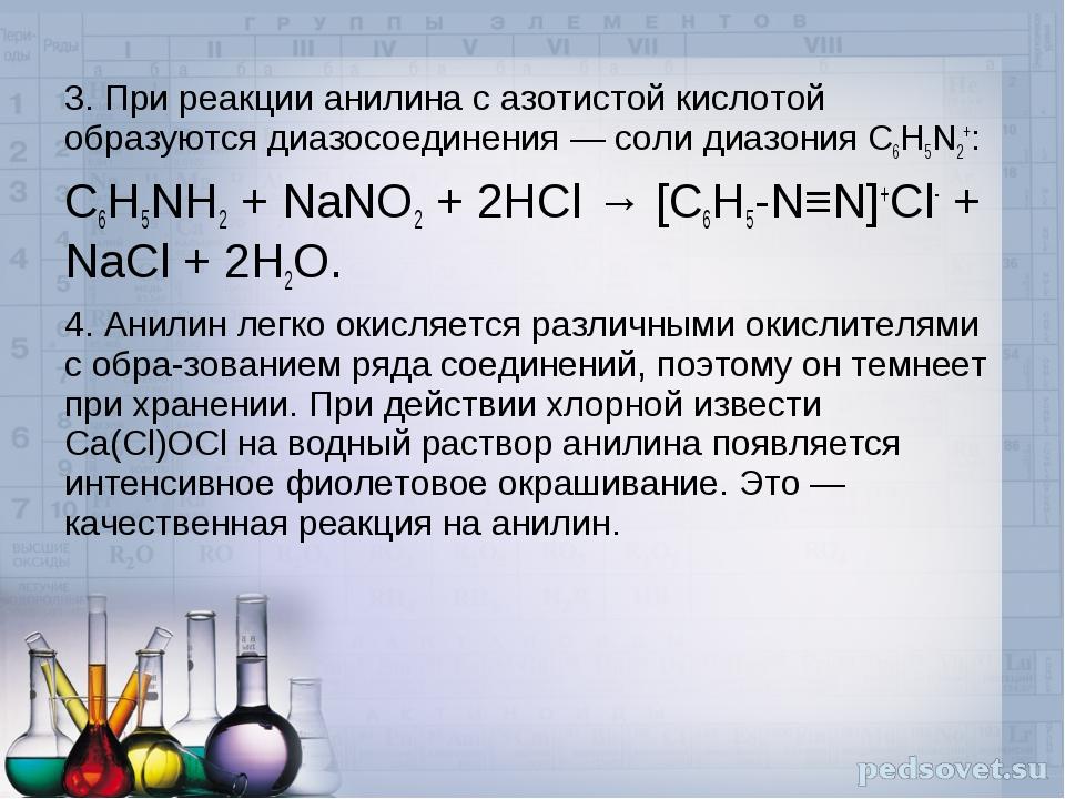 3. При реакции анилина с азотистой кислотой образуютсядиазосоединения— соли...