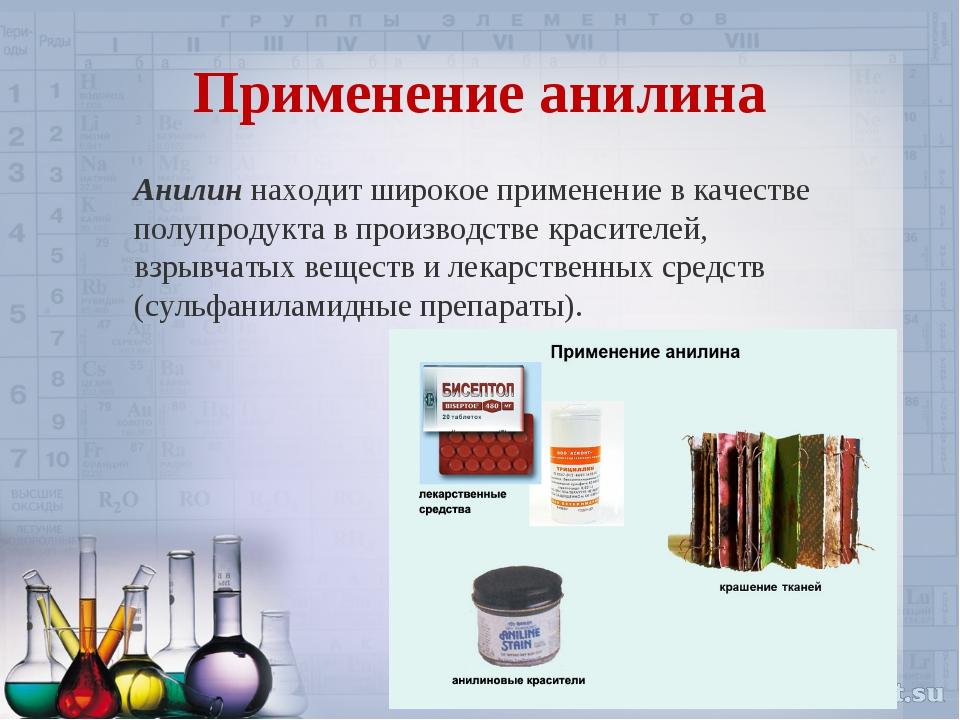 Применение анилина Анилиннаходит широкое применение в качестве полупродукта...