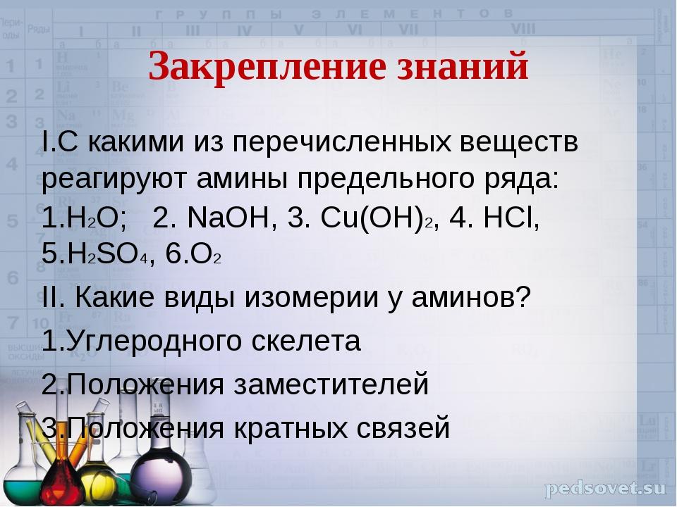 Закрепление знаний I.С какими из перечисленных веществ реагируют амины предел...
