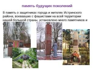 память будущих поколений В память о защитниках города и жителях Истринского р