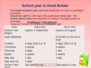 School year in Great Britain The English academic year runs from September t