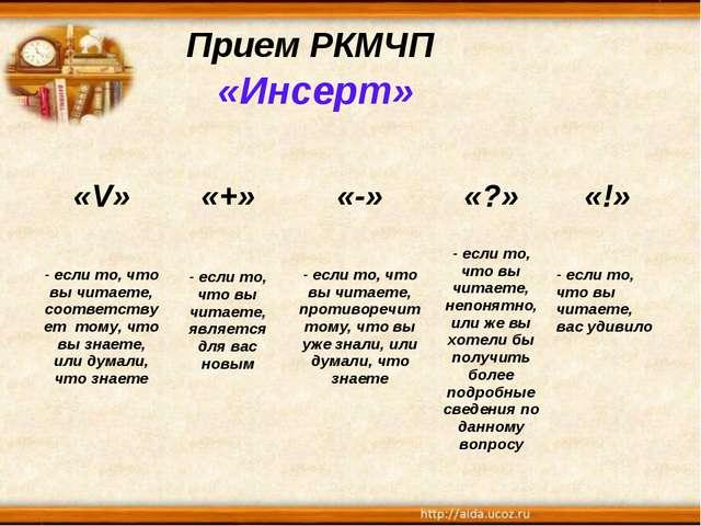 Прием РКМЧП «Инсерт» «V»«+»«-»«?»«!» - если то, что вы читаете, соответст...