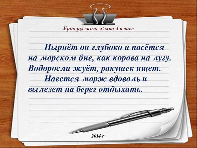 Урок русского языка 4 класс 2014 г Нырнёт он глубоко и пасётся на морском дне...