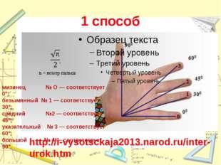 1 способ http://i-vysotsckaja2013.narod.ru/inter-urok.htm мизинец № О — соот