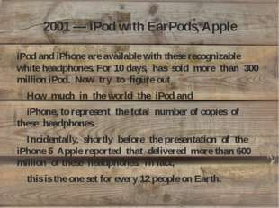 2001 — iPod with EarPods, Apple iPod and iPhone are available with these reco