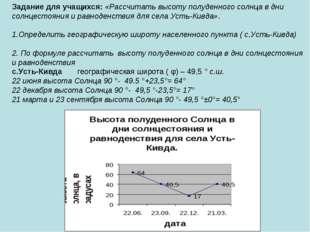 Задание для учащихся: «Рассчитать высоту полуденного солнца в дни солнцестоян