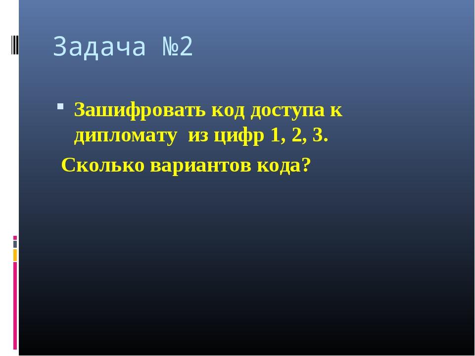 Задача №2 Зашифровать код доступа к дипломату из цифр 1, 2, 3. Сколько вариан...