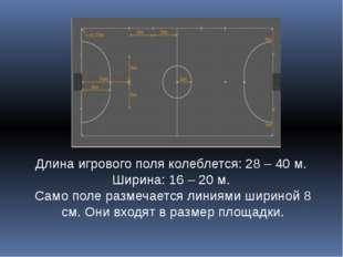 Длина игрового поля колеблется: 28 – 40 м. Ширина: 16 – 20 м. Само поле разме