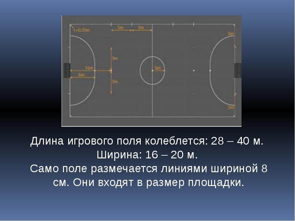 Длина игрового поля колеблется: 28 – 40 м. Ширина: 16 – 20 м. Само поле разме...