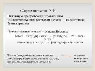 2. Определяют катион NH4 Отдельную пробу образца обрабатывают концентрированн