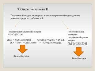 3. Открытие катиона К Полученный осадок растворяют в дистиллированной воде и