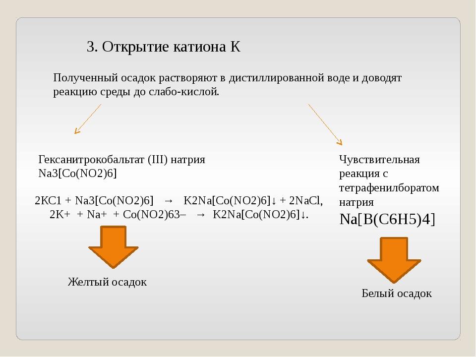 3. Открытие катиона К Полученный осадок растворяют в дистиллированной воде и...