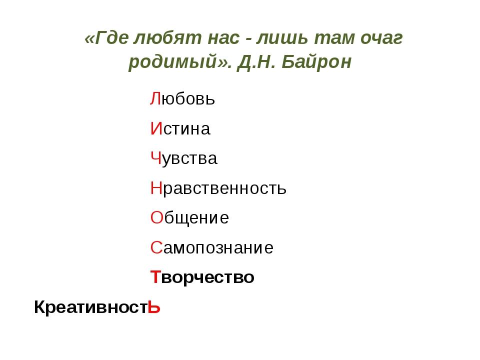 «Где любят нас - лишь там очаг родимый». Д.Н. Байрон Любовь Истина Чувства Н...