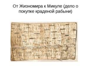 От Жизномира к Микуле (дело о покупке краденой рабыни)