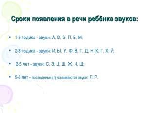 Сроки появления в речи ребёнка звуков: 1-2 годика - звуки: А, О, Э, П, Б, М;