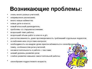 Возникающие проблемы: очень много разных учителей; непривычное расписание; мн