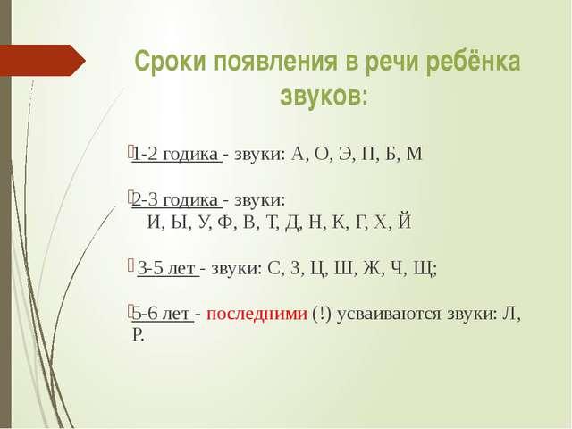 Сроки появления в речи ребёнка звуков: 1-2 годика - звуки: А, О, Э, П, Б, М 2...