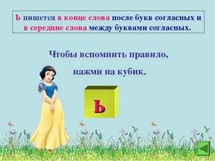 Ь пишется в конце слова после букв согласных и в середине слова между буквами