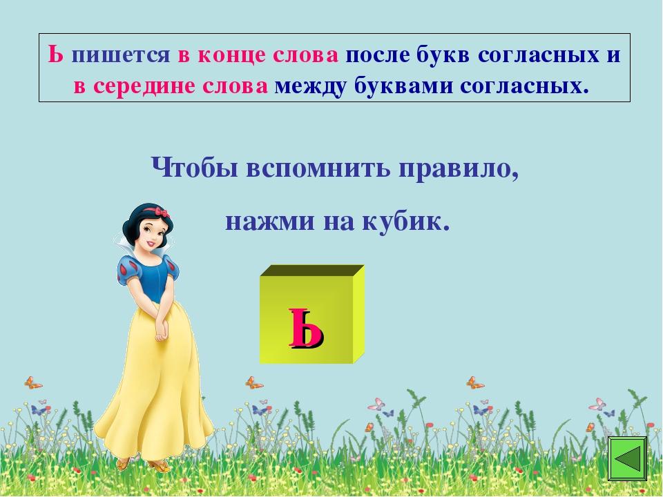 Ь пишется в конце слова после букв согласных и в середине слова между буквами...