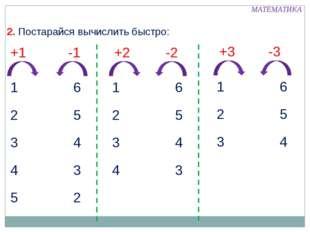 +1 -1 +2 -2 +3 -3 6 5 4 3 2 1 2 3 4 5 6 5 4 3 1 2 3 4 6 5 4 1 2 3 2. Постара