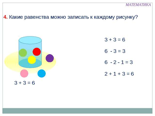 3 + 3 = 6 6 - 3 = 3 6 - 2 - 1 = 3 2 + 1 + 3 = 6 МАТЕМАТИКА 4. Какие равенств...