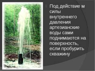 Под действие м силы внутреннего давления артезианские воды сами поднимаются н