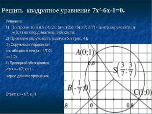 Решить квадратное уравнение 7х2-6х-1=0. Решение: 1)Построим точки S (-b/2a;